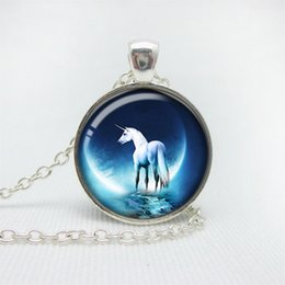Wholesale Necklace Full Moon - Unicorn necklace for kid blue pendant white unicorn Full Moon Mythology Fantasy time necklace kids jewelry children necklace
