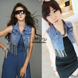 Wholesale Sequins Jean Vest - Denim Vest Women Coat Vintage Cardigan Jean Sleeveless Turn-down Collar Single Breasted Waistcoat 2014 Spring 41