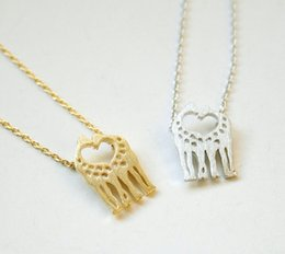 Wholesale Deer Giraffe - 5pcs lot N19 Gold Silver Heart Loving Giraffes Necklace Simple Twin Baby Deer Necklace Animal Jewelry for Couples