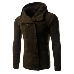 Wholesale Duffle Jacket Men - Fall-2016 Fashion Winter Mens Jackets And Coats Duffle Coat Stylish British style wiht Hood Mens Pea Coat Wool Trench Coat
