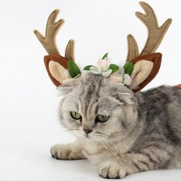 Wholesale reindeer antlers wholesale - 3 Size Christmas Pet hairband Antlers Headband Christmas Reindeer Antlers Cat Puppy Grace Hat Christmas Pet Decoration
