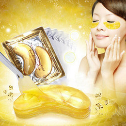 mask shipping Promo Codes - Wholesale-35pairs New High quality Gold Crystal collagen Beauty Eye Mask Hotsale Eye Patches Colageno free ship