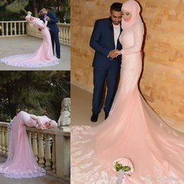 Wholesale Lace Nude Mermaid Wedding Dress - 2016 Pearl Pink Muslim Arabic Evening Dresses For Wedding Long Sleeves Lace Applique Court Train Classic Evening Gowns Prom Dresses BA1022