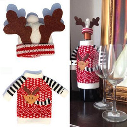 Wholesale Kitchen Hats - 2pcs Set Christmas Red Wine Covers Bottle Cover Indoor Decoration Antler Hats Tops Suits Kitchen Dinner Christmas
