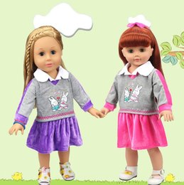 Wholesale Dolls Clothes 18 - 18 Inches LoL Baby Doll Clothes School Winter Dress Skirt American Girl Baby Doll Dress up Clothes Purple Pink 10 sets Free ship