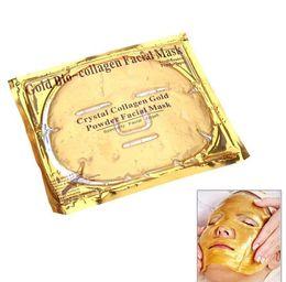 Wholesale Mask Facial Collagen Gold - Gold Bio-collagen Face Mask Crystal Collagen Gold Powder Facial Mask Moisturizing Whitening Anti-aging Mask Face Skin Care 10 sheets lot