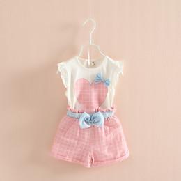 Wholesale Cute Color Love - Summer Girls 2pcs Suits 2015 Love Heart top sleeveless vest+plaid Short pants bow suit baby clothes 2 color C001