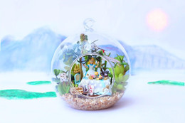 Wholesale Dollhouse Miniature Glasses - Beautiful Mini Alice Dollhouse Miniature Glass Ball DIY Miniatures Wooden Doll House Funny DIY Assembling Toys Creative Gifts for Children