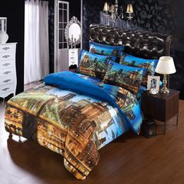 Wholesale Bedding Sets For King Size - Wholesale-6PCS   SET Modern Unique city duvet cover super king size bedding sets for USA CANADA king bed 3d city quilt cover bedsheet