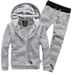 Wholesale Casual Sweat Suits For Men - New Arrival Men's Sports Clothing Sets Sweat Suits Tracksuit for Man Casual Spring Autumn Thicking Hoody Fur Lining Fleece Hoodies Pant