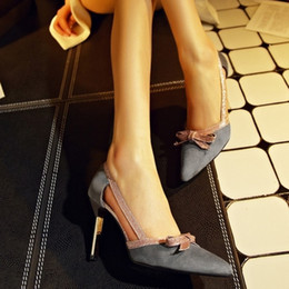 Wholesale Pointed Toe Cut Out - Drop Shiopping Fashion Pointed Toe Summer Platform Pumps Sexy Casual Cut-outs Bowtie High Heels Shoes Free Shipping Hot Sale