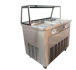 Friggere la panna di ghiaccio macchina online-macchina per gelato fritto in acciaio inox a doppia piastra Inserire la chiave se arch