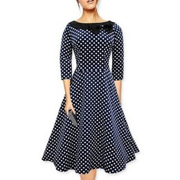 Wholesale Polka Dots Tunic - Fall Winter Polka Dot women dress A Line Skater vintage dress 50s High waist Tunic Elegant dress Ladies Party Wear Pluz Size