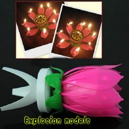 Wholesale Birthday Lotus Blossom - Fashion Lotus Fireworks Music Candles Beautiful Blossom Lotus Flower Candle Birthday Party Cake Music Sparkle