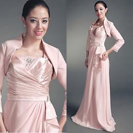 Wholesale Sleeve Satin Bridal Bolero Ivory - 2015 Wedding Coat Pink Bolero Long Sleeves Satin Bridal Wraps Jackets
