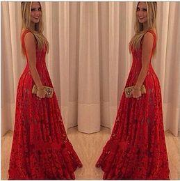 Wholesale Evening Lace Red Maxi Dress - New Fashion Long Maxi Lace Dress Women Sleeveless Vintage Red Evening Party Dresses vestido de festa Casual Dress new arrive