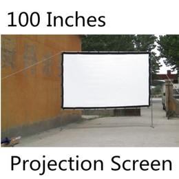 Wholesale Projector Screen Portable - Wholesale-100 Inches Portable Projection Screen White Screen Multimedia Projector Used Front Projection Screen Wall