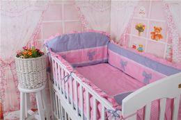 Wholesale Baby Bedding Curtain Set - Pink Bowkont 4-10Pcs Sets Baby Bedding Set 100%Cotton Curtain Crib Bumper Baby Cot Sets Baby Bed Bumpers Juegos De Sabanas