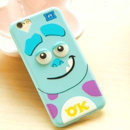 Wholesale Cute Animal Iphone Covers - For iphone 5 iphone 6 plus Case Cover Monsters 3D Cute Cartoon Animal STITCH Garfield duck Silicone phone case