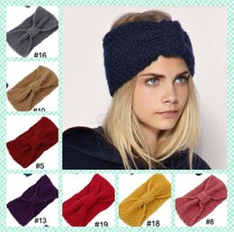 Wholesale Womens Winter Fashion Headbands - 2016 Hot sales Winter Crochet Flower Bow Knitted Head wrap fashion womens Knit Turban Headband Ear Warmer twist wide headbands