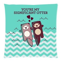 Wholesale Pink Hand Cushion - 2015 New Sea otters holding hands 45X45 CM Soft Pillowcase cushion case