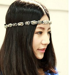 Wholesale Ordering Elastic For Headbands - Beautiful Lady Girls Hairband Headwear Black Bling Rhinestone Crystal Band Womens Elastic Headdress Headband For Party Wedding order<$18no t