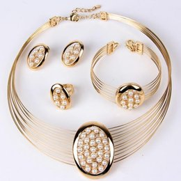 Wholesale Costume Jewellery Wholesalers - 2016 fashion women african costume jewellery set 18k gold plated imitation pearls necklace bracelet earrings ring set wedding accessories