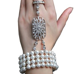 Wholesale Body Chain Jewerly - 2017 New wedding jewelry The Great Gatsby Bridal Bridesmaid Crystal pearl Bracelet Set Bridal Jewelry CPA238