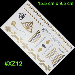 Wholesale Hot Sexual - Wholesale-2015 new body tattoo color sexual Indian jewelry hot metal bracelet grain gold henna woman gold metal product stickers