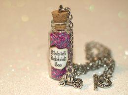 Wholesale Cinderella Pumpkin Carriage Pendant - 12pcs Bibbidi-Bobbidi-Boo Bottle of Magic Necklace with Pumpkin Carriage Charm Cinderella Fairy necklace in silver