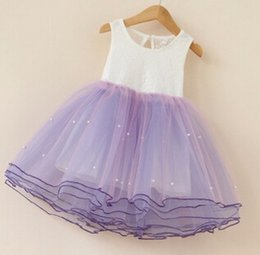Wholesale Kids Hot Pink Ball Gowns - Children Princess Dress Hot Kids Party Dresses With Beading Sleeveless Girls Ball Gown Kids Tulle Dress 100-150 6pcs lot