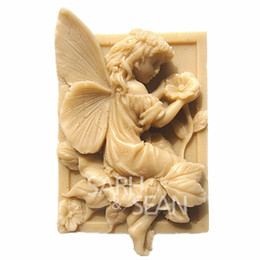 Wholesale Silicone Cake Floral Moulds - 3D M0359 Floral fairy soap mould fondant cake molds soap chocolate mould for the kitchen baking