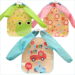 Wholesale sleeved bibs - Wholesale- Baby EVA Transparent waterproof Burp Overalls Disposable Girls Boys Cartoon Long Sleeved Bibs Children Overclothes