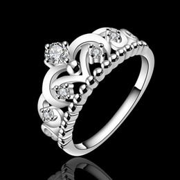 Wholesale Ring Silver Swarovski - NEW Swarovski Elements gorgeous design 925 Sterling Silver fashion chain ladies nice party engagement crown Ring jewelry factory price R601