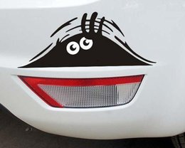 Wholesale Funny Car Graphics Stickers - New peeking black cute Monster for Cars Walls Funny Sticker Graphic Vinyl Car Decals hot sell Free shipping