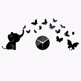 Wholesale Mirror Adhesives - Watches Fashion Personality Mirror Perspective Wall Clock Elephant Butterfly Wall Clock
