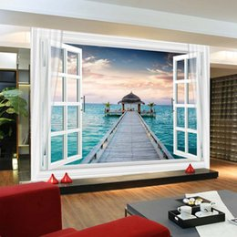 Wholesale Wall Art For Childrens Room - Window 3D Maldives Large Ocean View Wall Stickers art Mural Decal Wallpaper Living Bedroom Hallway Childrens Rooms free shipping