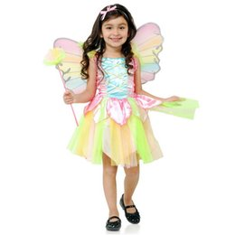 Wholesale Rainbow Ruffle Skirt - rainbow Flower Fairy dance princess performance flowers skirts for kids girls costumes christmas halloween party butterfly wing Set