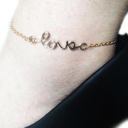 Goldliebes-fußkettchen online-Mode Sommer Mode Brief Liebe Fußkettchen Zubehör Damen Zubehör Gold Silber 2 Farben Drop Shipping Body-0099