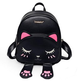 Wholesale Back Bags For Girls - Cat bag Students Pu backpack for teenagers girls Back Pack School Backpacks Funny Preppy Leather Shoulder Travel bag mochila
