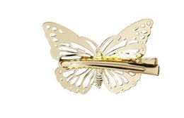 Wholesale Animal Barrettes - Classic women's hollow out butterfly hairpin hair clips bride wedding party barrettes Hair Jewelry gold silver drop shipping