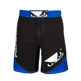 Wholesale Mma Fighting Shorts - Mens MMA Boxing Shorts Badboy Cheap MMA Kickboxing Shorts Muay Thai Shorts Sanda Fight Wear Martial Arts 2015 New M-3XL Blue Red