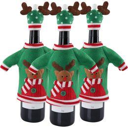 Nuevos años fuentes del partido online-3 unids Decoración de Año Nuevo Cubierta de Botella de Vino Tinto Ugly Sweater Party Products Regalos Home Xmas Party Decoration Supplies