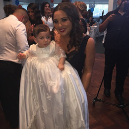 Wholesale Baby Baptism Suits - Custom made 2015 New Lovely Short Sleeve Baptism Gown White Ivory lace Christening Gowns Dress for Baby Girls and Boys Suits