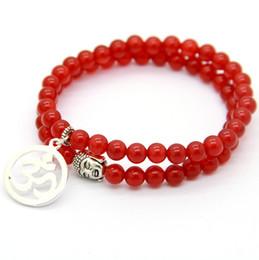 Om yoga pulseiras on-line-Novo Design Envoltório 6mm Um Grau Ágata Vermelha inspirou Conjunto de Jóias por atacado dos Homens de Buda e OM Chakara Yoga pulseira
