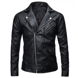 Wholesale Men Leather Jackets Slim Fit - Wholesale- New Autumn Men's PU Leather Jacket Slim Fit Motorcycle Jacket Zipper Casual Leather Coat Male Outerwear Clothing Fashion 821702