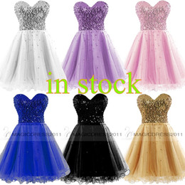 Wholesale Crystals Cocktail Dresses - Cheap Homecoming Dresses 2015 Occasion Dress Gold Black Blue White Pink Sequins Sweetheart Short Cocktail Party Prom Gowns 100% Real Image
