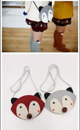 Wholesale 12 Cartoon Animals Bag - 2015 baby cute fox bag HOT FOX purse Handbag wallet 12*13 CM children girls Fashion cartoon one-side Bags 2 colors CY2943
