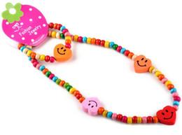 Wholesale Necklace Bracelet Wood Set - Children Kids Jewelry Set 12sets lot Cute Wooden Elastic Necklace Bracelet Set DIY Free Shipping[TN10*12]