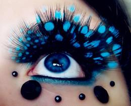 Wholesale Strip Party - Hot Colorful Feather False Eyelashes Handmade Long False Eyelash Soft Fake Lash 3D False Eyelashes Party Gorgeous Exaggeration Stage Makeup
